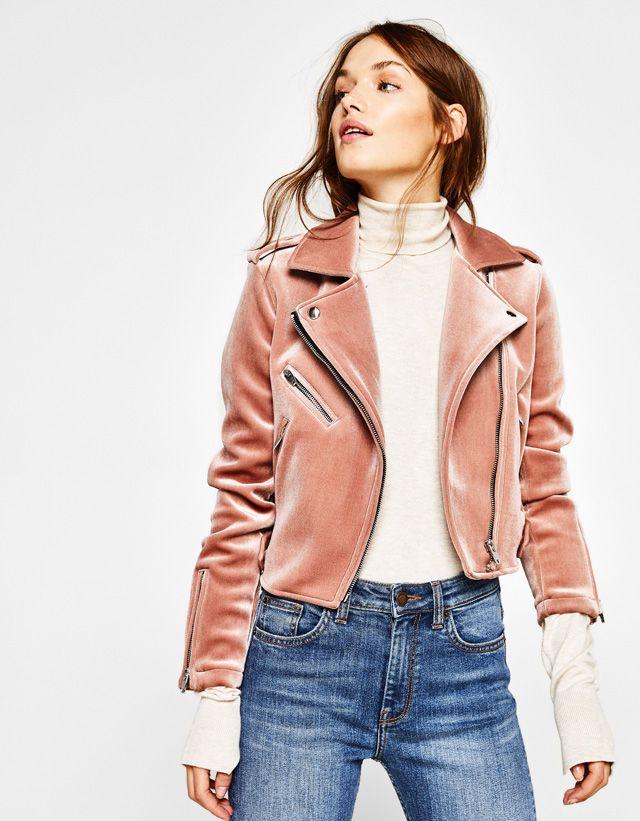 93a8736ec2 Pink velvet biker jacket - Bershka  pink  velvet  biker  jacket  bershka