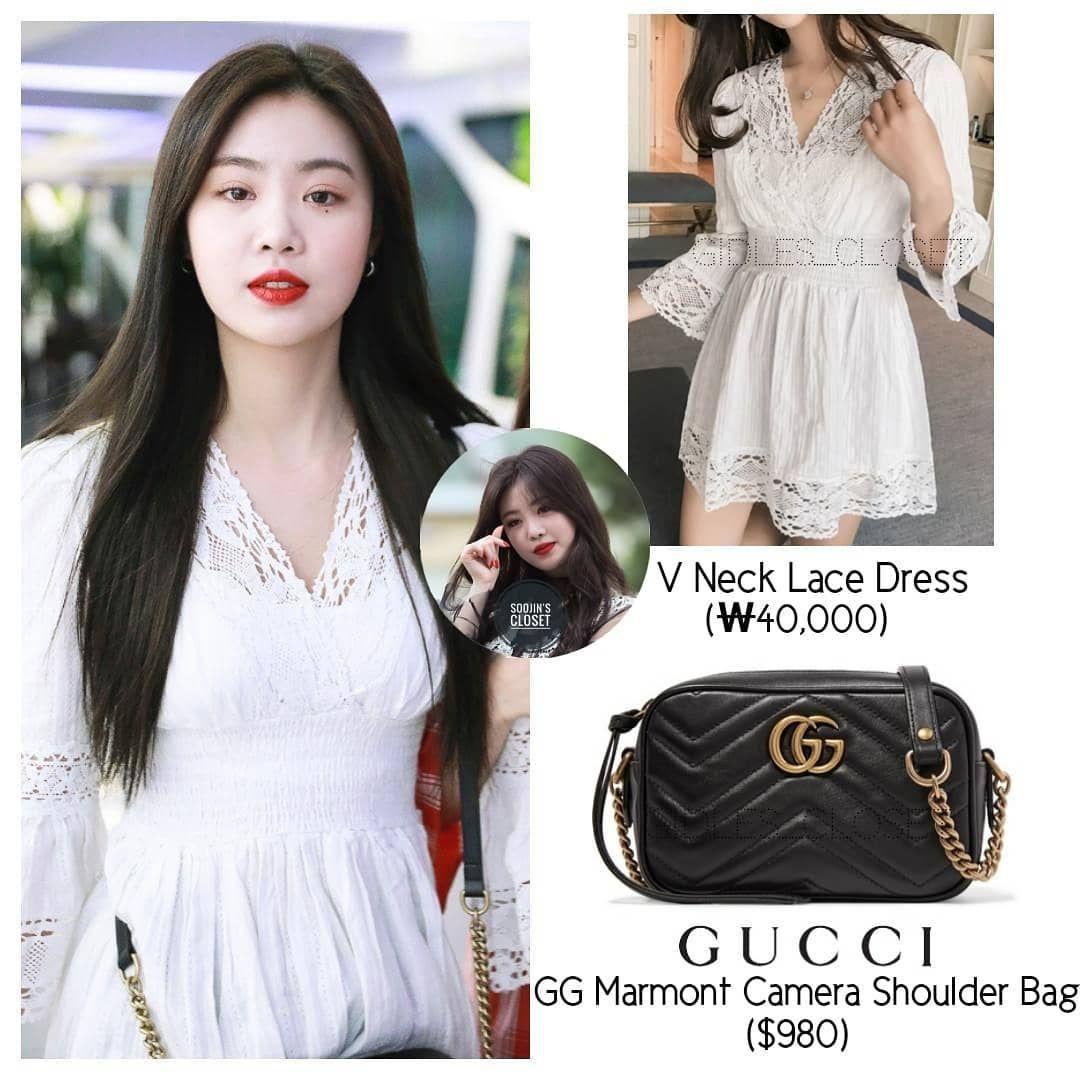 Soojin 180707 V Neck Lace Dress 40 000 Gucci Gg Marmort Camera Shoulder Bag 980 Gidlefashion Gidlestyle Gidle Soojin Yuqi