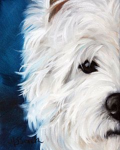 Westie Painting - Eye See You by Mary Sparrow