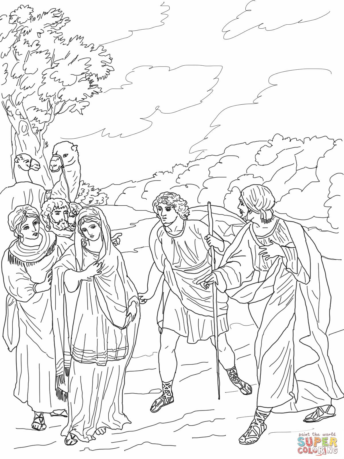 Isaac First Meets Rebekah Coloring Pages Coloring Book Art Cute Coloring Pages