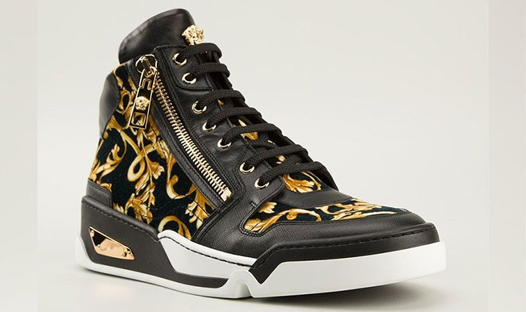 New Versace Baroque High-Top Black and Gold Medusa Sneakers | ALPHASTYLES