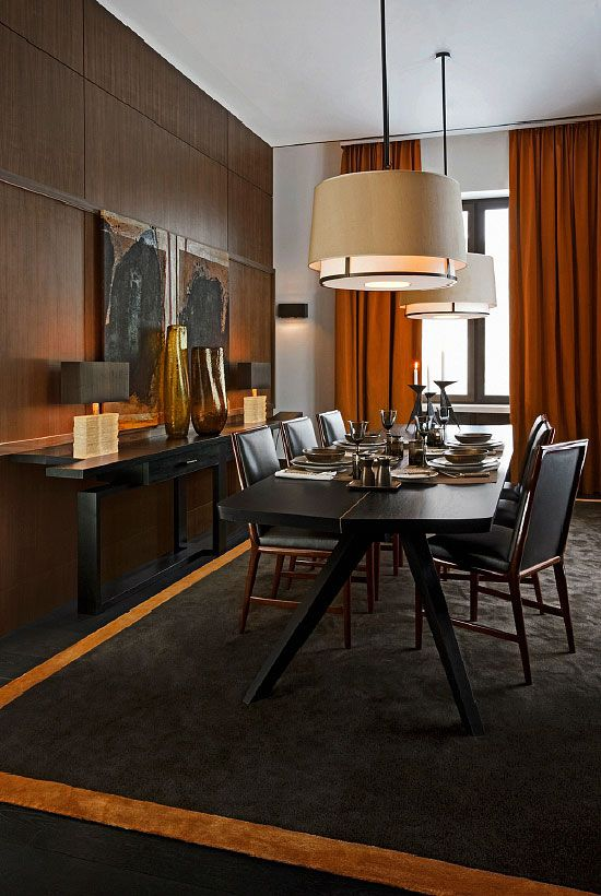 dining room love those orange drapes and the artwork in this space interiors with impact in. Black Bedroom Furniture Sets. Home Design Ideas