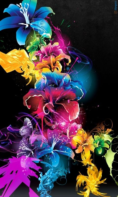 Windows Phone Wallpapers Nokia Lumia 620 Wallpapers Flower Wallpaper Colorful Art Neon Flowers
