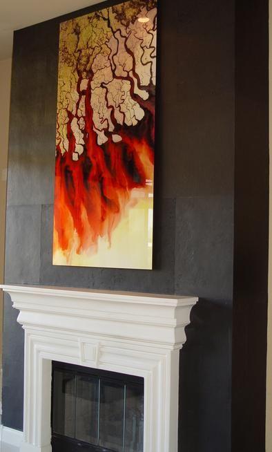 Interlam micro slate veneer panels on fireplace My install