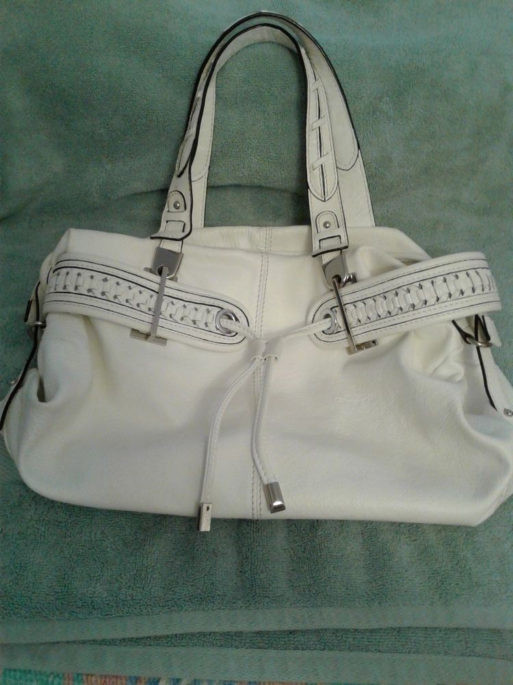 Cromia White Pebble Leather Handbag Made In Italy Euc Shoulderbag