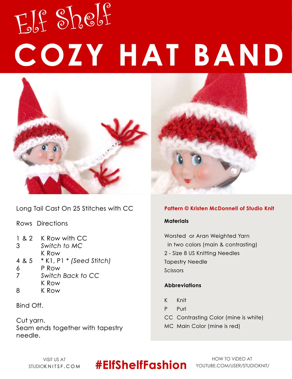 Elf on the Shelf Knitted Cozy Hat Band Free Knitting Pattern ...