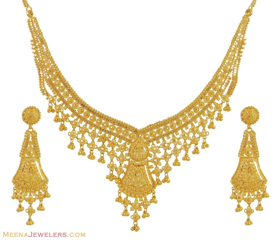 Gold necklace designs with price in rupees jewelry gallery - Indian Gold Necklace Set Gold Necklace And Earring Set With Filigree Design And Light Frost Finish