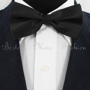 Bestow Black /& White Bow Tie Set Striped