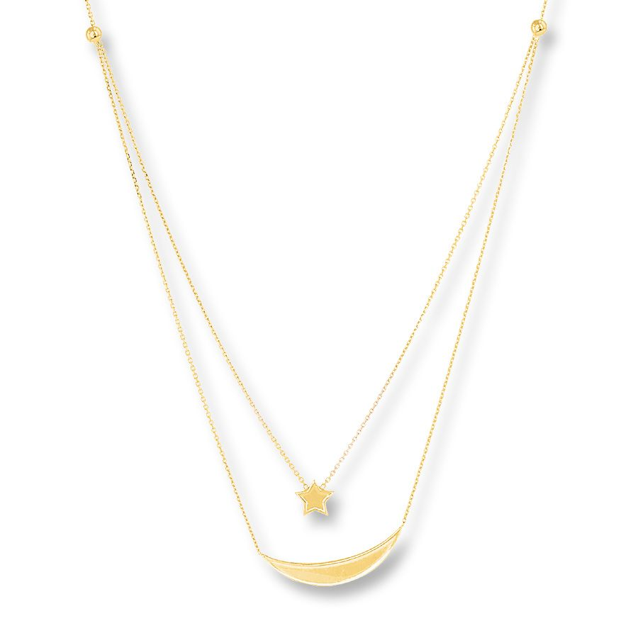 Moon Star Layered Necklace 14K Yellow Gold 34999 at Jaredcom