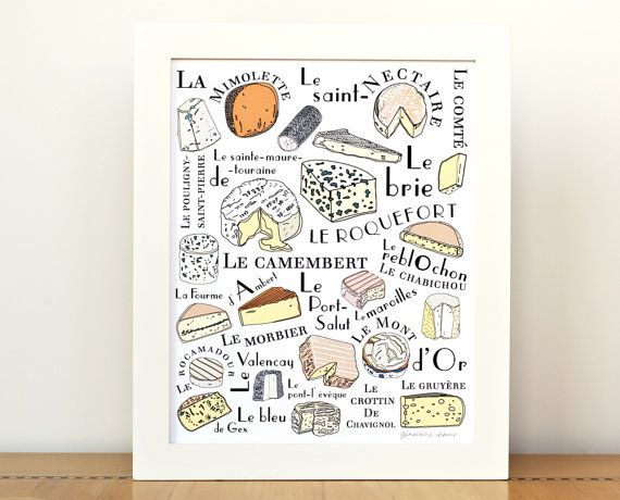 Kitchen Art French Cheeses home decor - Art Print 8x10 Typographic print Gourmet cheese lover food illustration on Etsy, $25.00