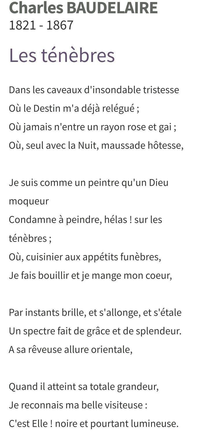 Charles Baudelaire Les Ténèbres Baudelaire Moqueur Et