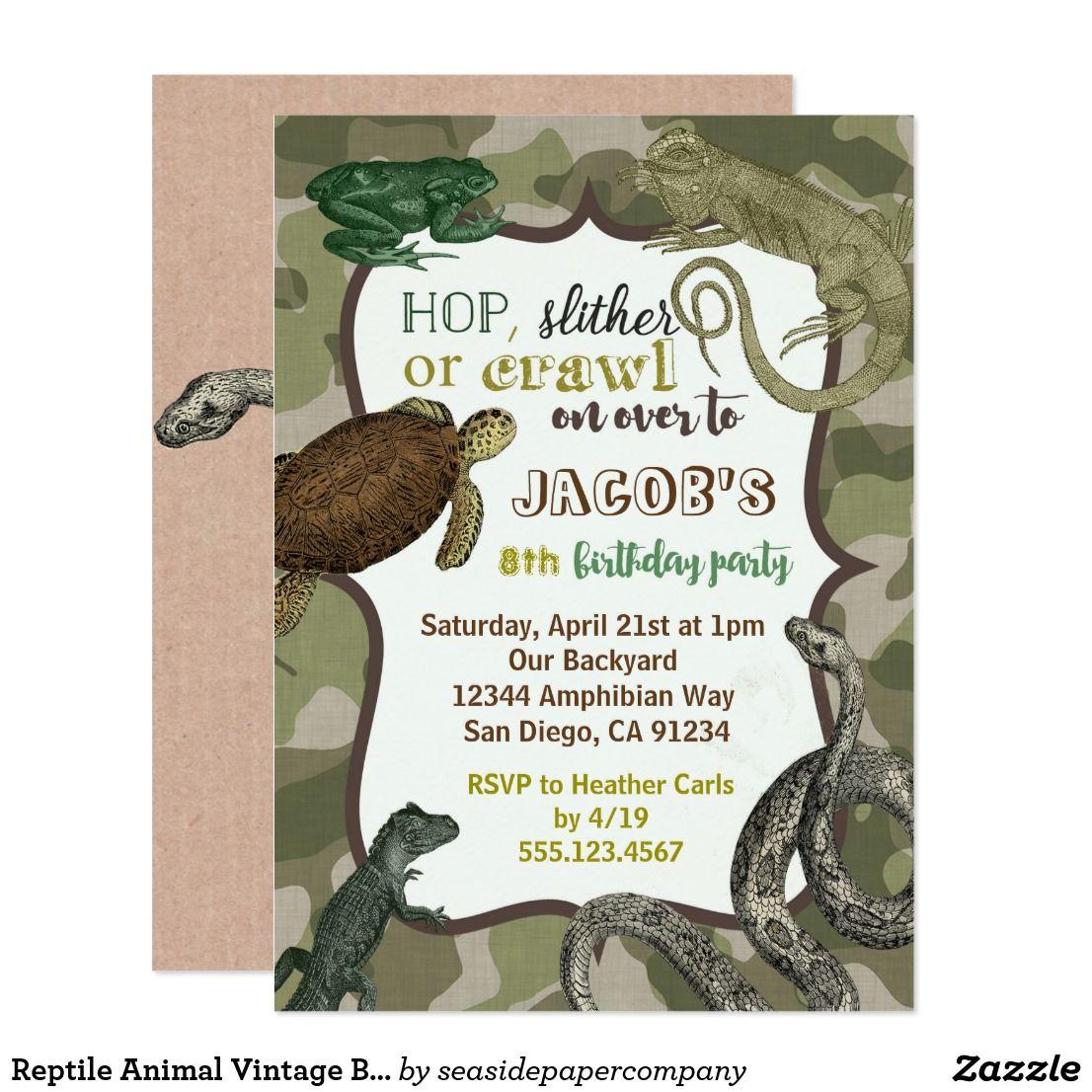 Reptile Animal Vintage Birthday Invitation | Invitations | Pinterest ...