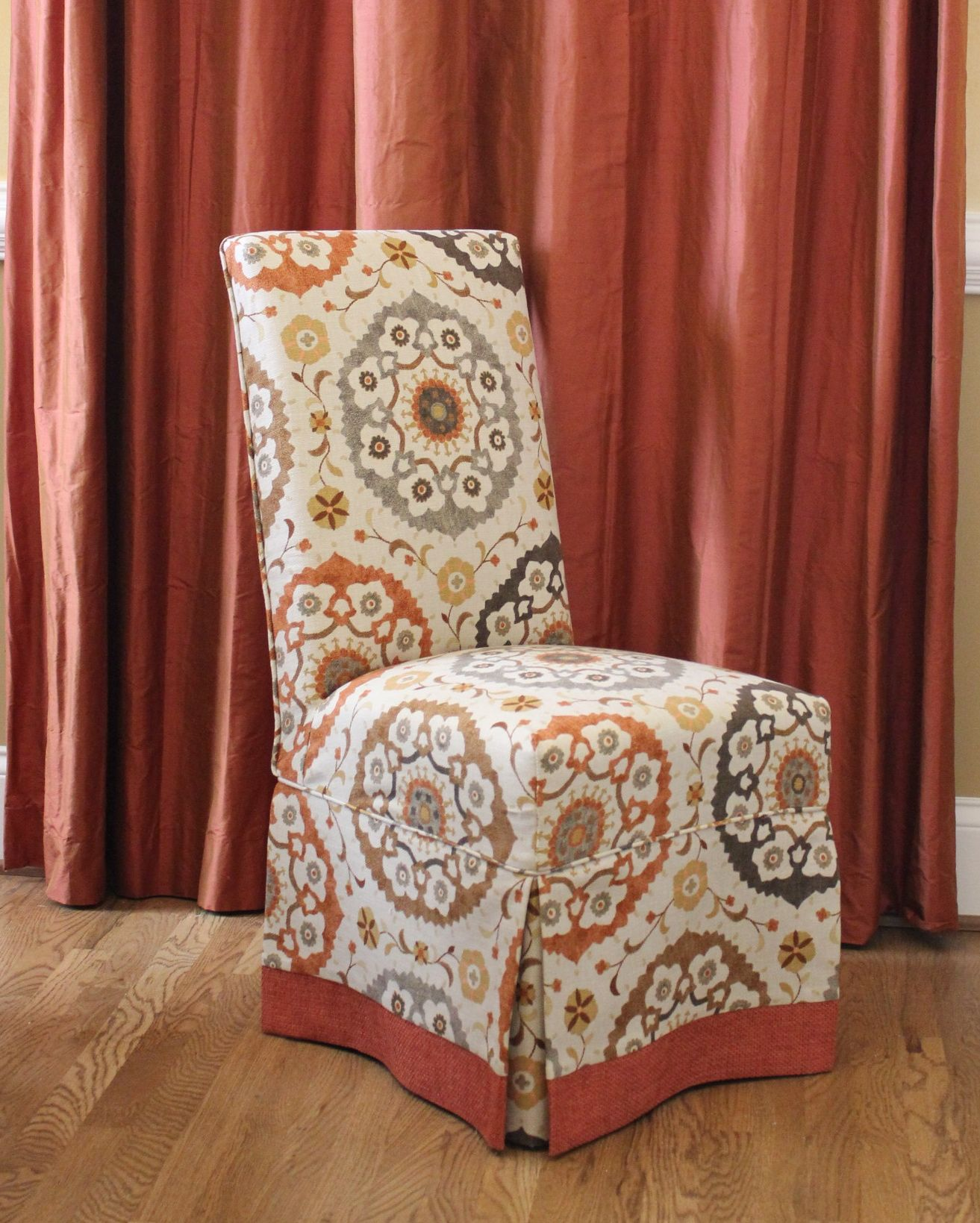 Parson Chair Slipcovers With Contrast Banding, Design By Elisha Howell,  Fabrication By Camille Moore Window Treatments