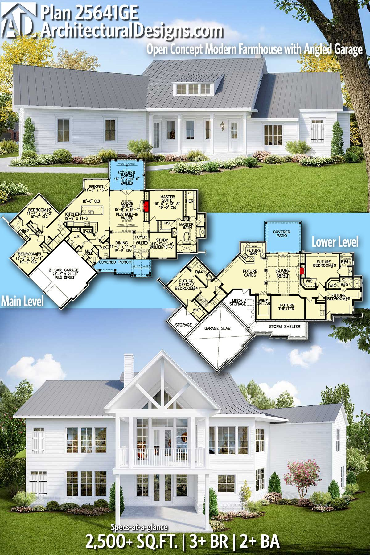 Plan 25641ge Open Concept Modern Farmhouse With Angled Garage Craftsman House Plan Ranch House Plans House Plans