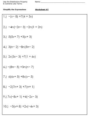 Algebra Worksheets for Simplifying the Equation | Pre ...