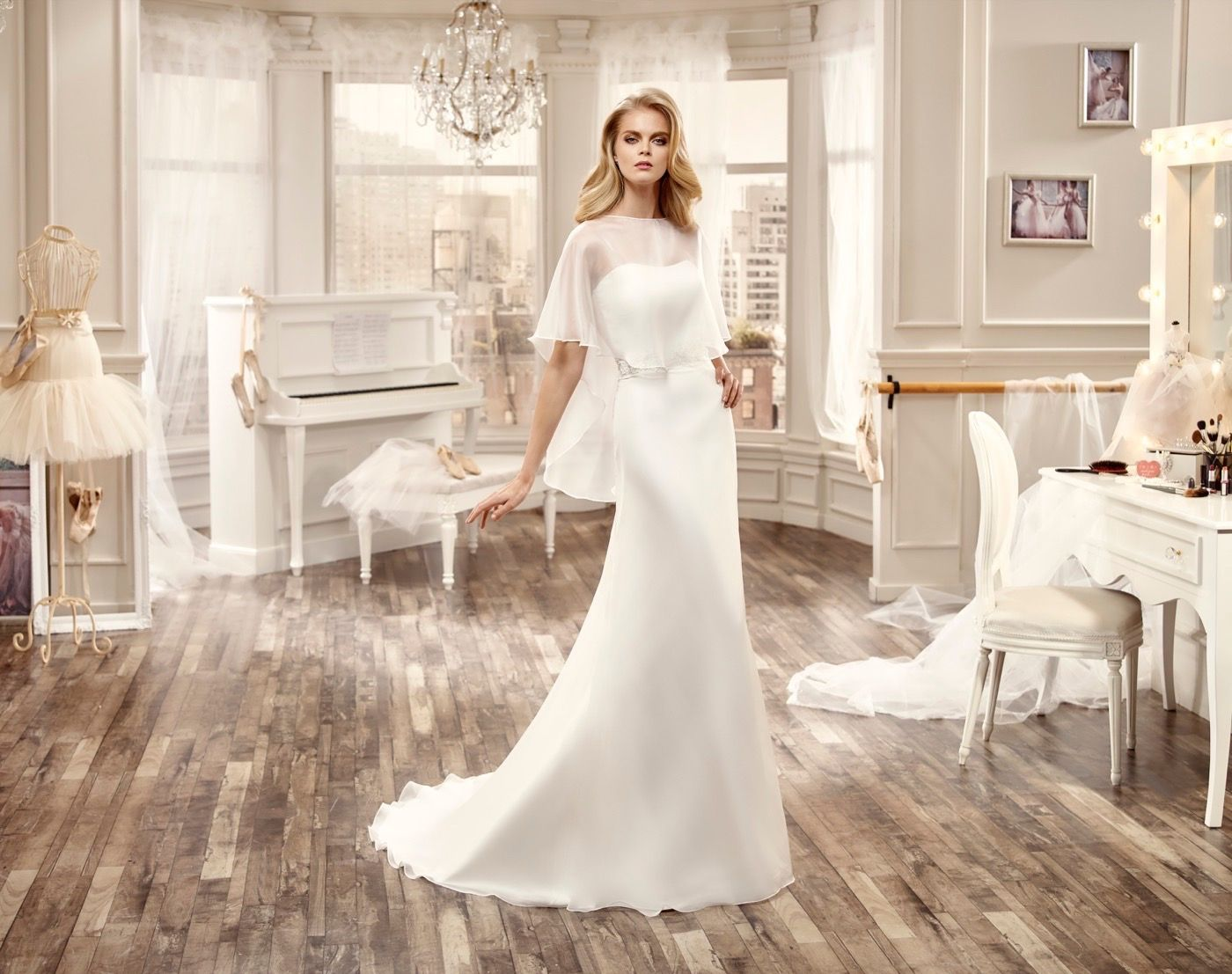 Nicole Spose chiffon strapless bridal gown, with lace and beaded ...