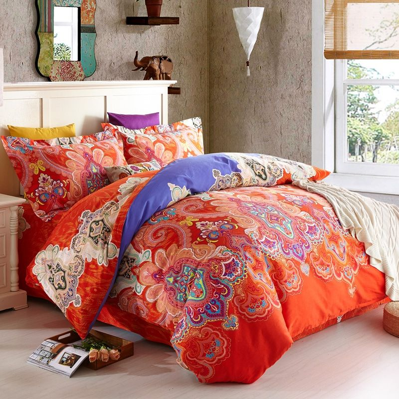 orangered and royal blue western tribal print luxury paisley and modern indian pattern egyptian cotton full queen size bedding sets