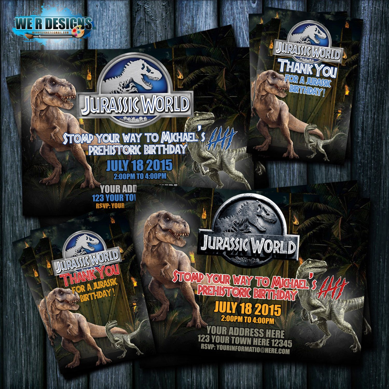 Jurassic World Invitation Jurassic World Thank You Card