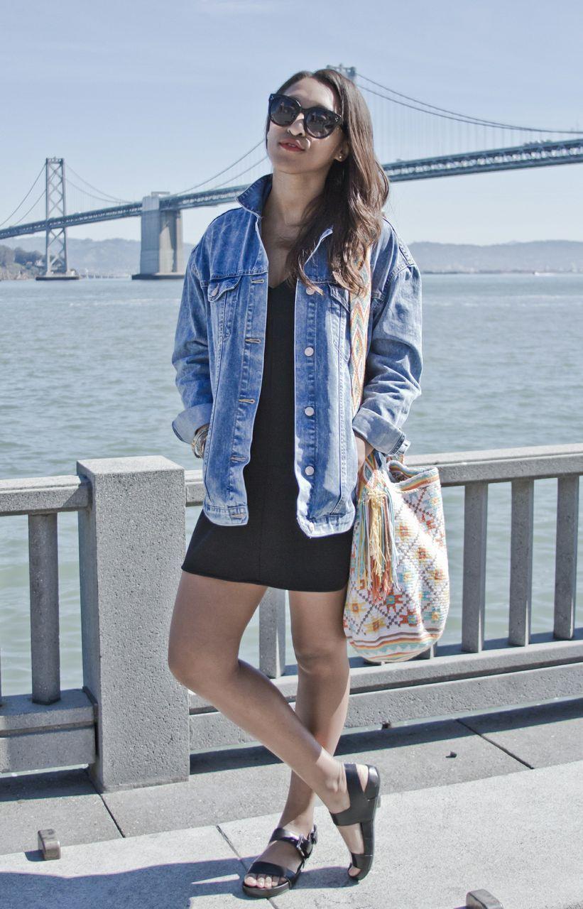 Oversized Jean Jacket Black Shirt Dress Woven Bag Simple Black