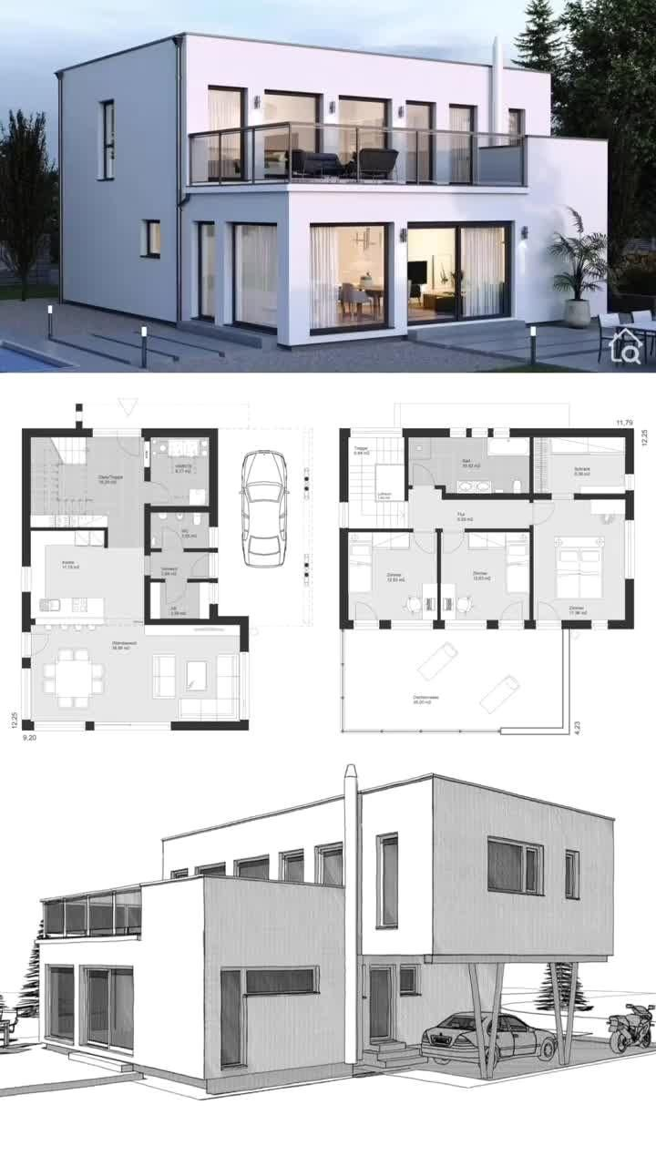 #home  #house  #houseplan  #houseplans  #homesweethome  #dreamhome  #newhome  #newhouse  #homedesign  #houseideas  #housegoals  #architecture  #architect  #arquitectura  #hausbaudirekt #House #Architecture Modern House Architecture Design with Open Floor, Flat Roof & Carport, Contemporary European Minimalist Styles, Floor Plans with 2 Story, 4 Bedroom, Balcony & Terrace Exterior - Dream Home Ideas ELK Haus 164 / ELK Haus - Drawing, Rendering & Layout Concept Inspiration - Arquitectur