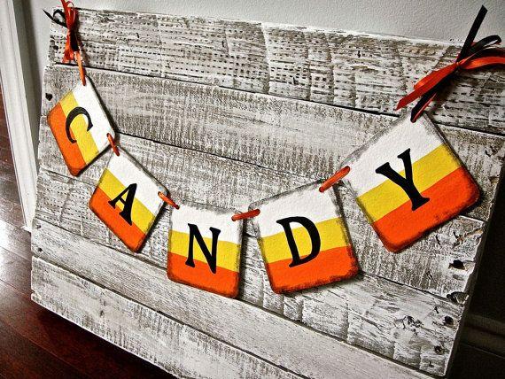 Halloween Banner Candy Corn Banner halloween by RedBirdBanners