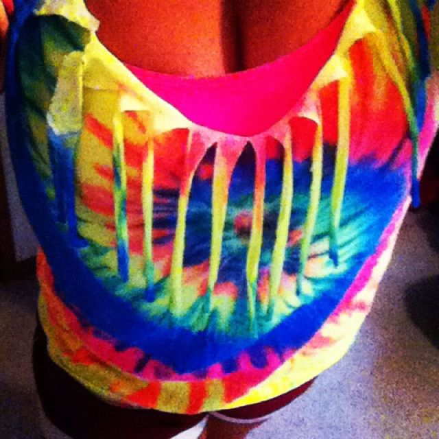 Cut up tie dye shirt diy pinterest tie dyed shirts for How to make tie dye shirts at home