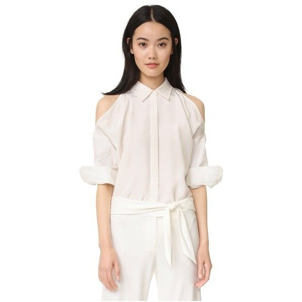 KAUFMANFRANCO Button Down Shirt ($405) ❤ liked on Polyvore featuring tops, 3/4 sleeve shirts, collared shirt, side slit shirt, loose fitting tops and three quarter sleeve shirts