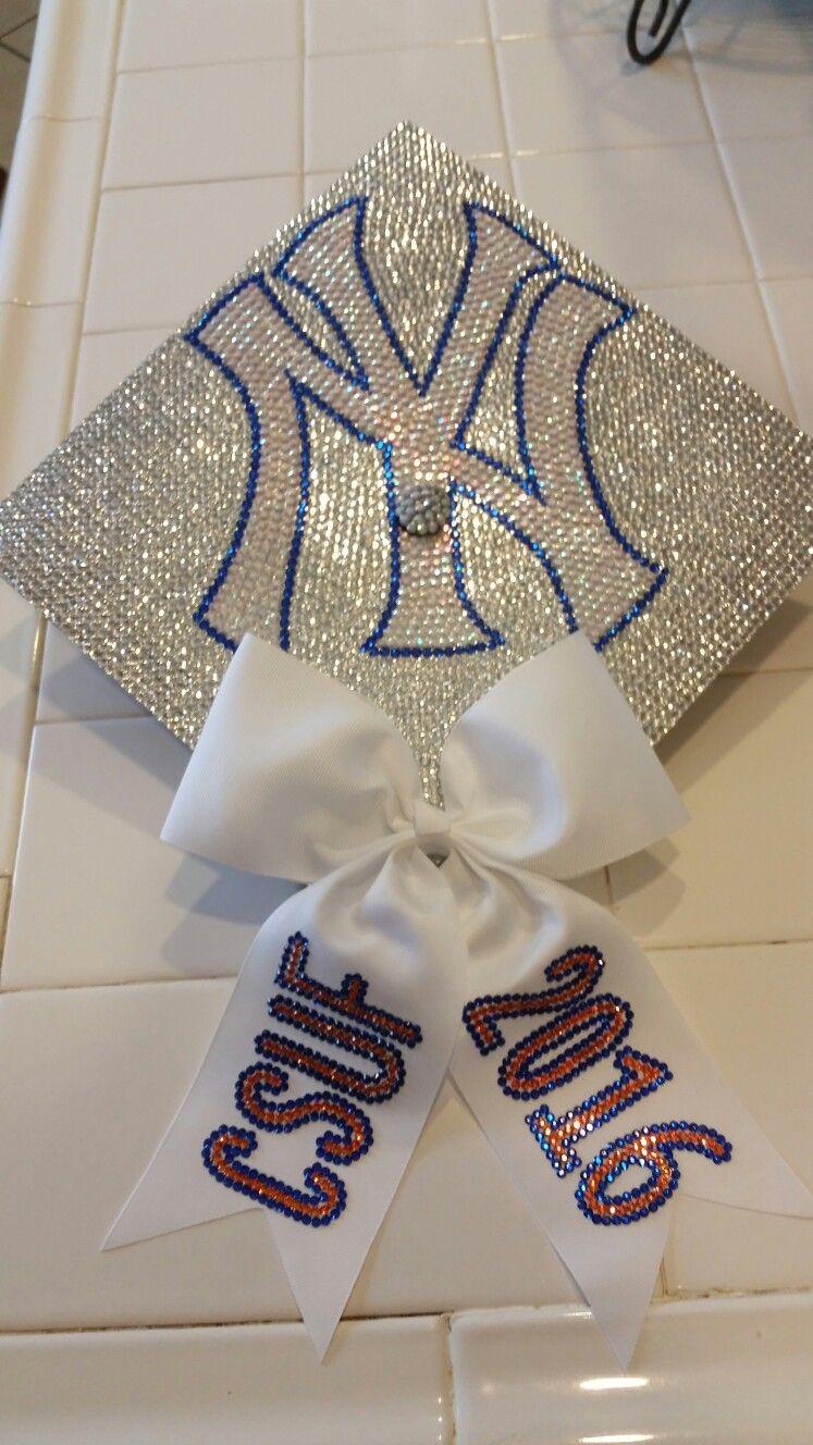 Ny Yankees Rhinestone Cap Design Rhinestone Graduation Cap Cap Designs Grad Cap