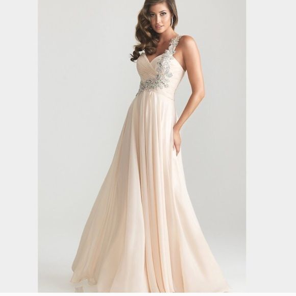 Champagne one strap prom grown | Cream color dress, Night moves and ...