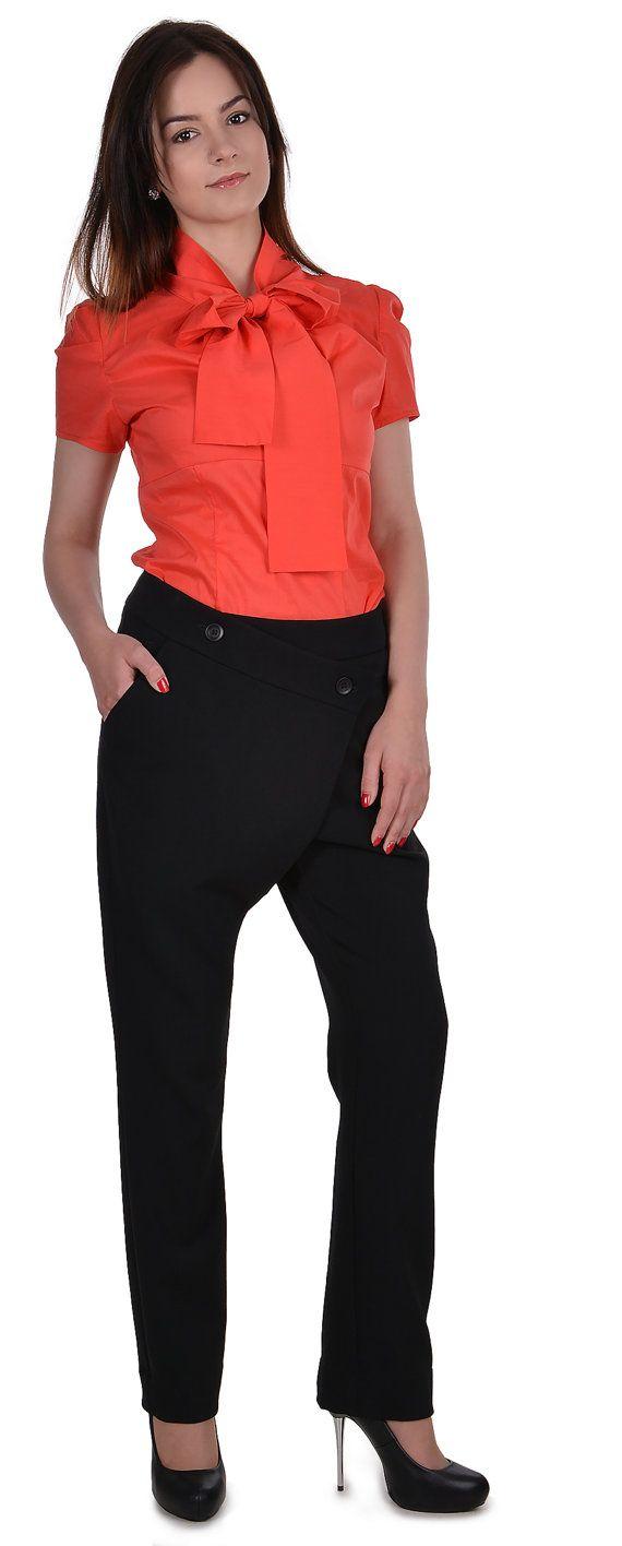Elegant woman shirt Classics  Orange office blouse  Puffed Sleeve Shirt Romantic blouse Romantic shirt Office clothes Formal blouse