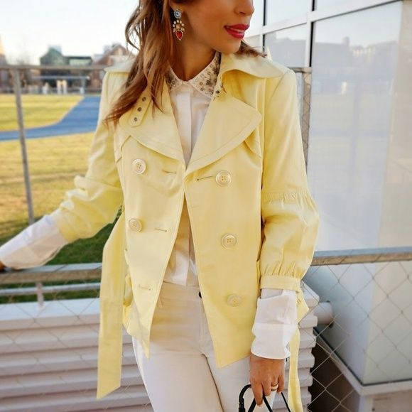 Spring Yellow Trench coat Jacket Extremely cute jacket! Perfect for spring! Worn twiceNo trades or PP for more pictures visit my blog www.reddirtandglitter.blogspot.com Jackets & Coats