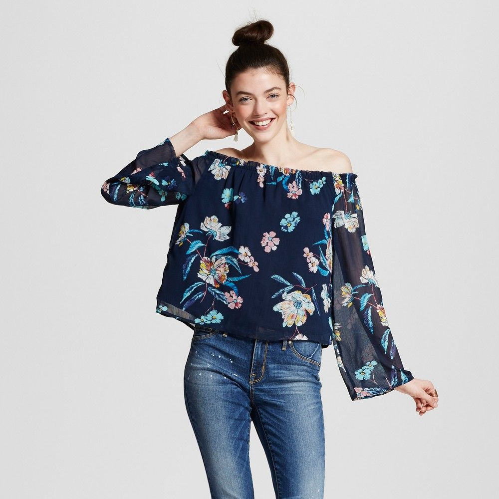 Women s Floral Off the Shoulder Bell Sleeve Top Navy S - Harper and Zoe  (Juniors a4d2d0143b
