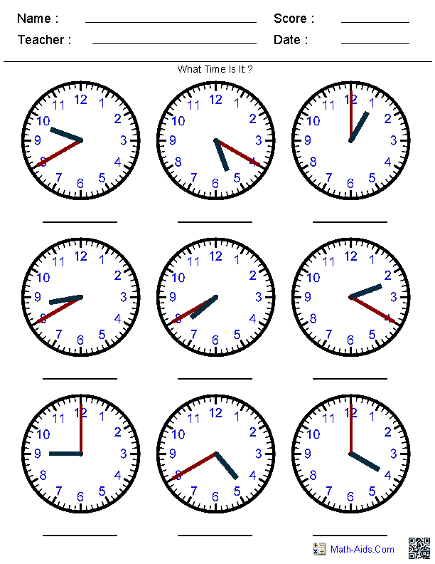 Generate Random Clock Worksheets for PreK Kindergarten 1st 2nd – Worksheets on Telling Time
