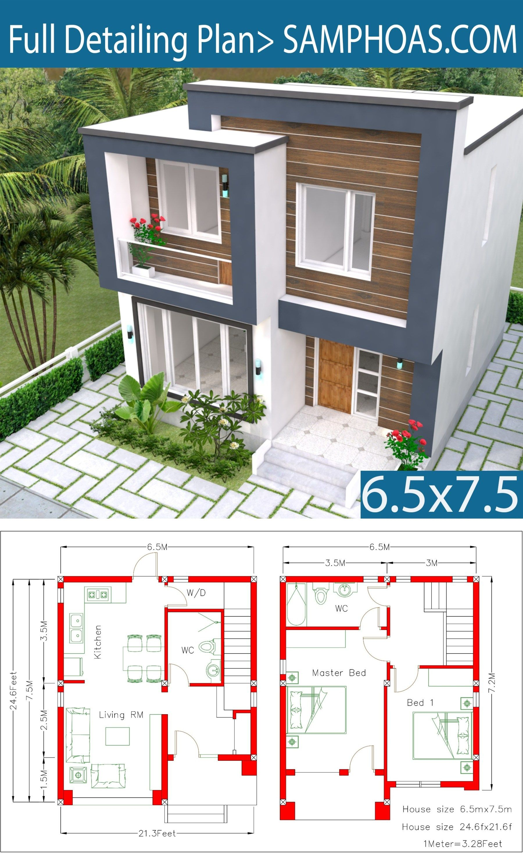 House Plans 6 5x7 5m With 2 Bedrooms Sam House Plans Architectural House Plans House Layout Plans House Plans