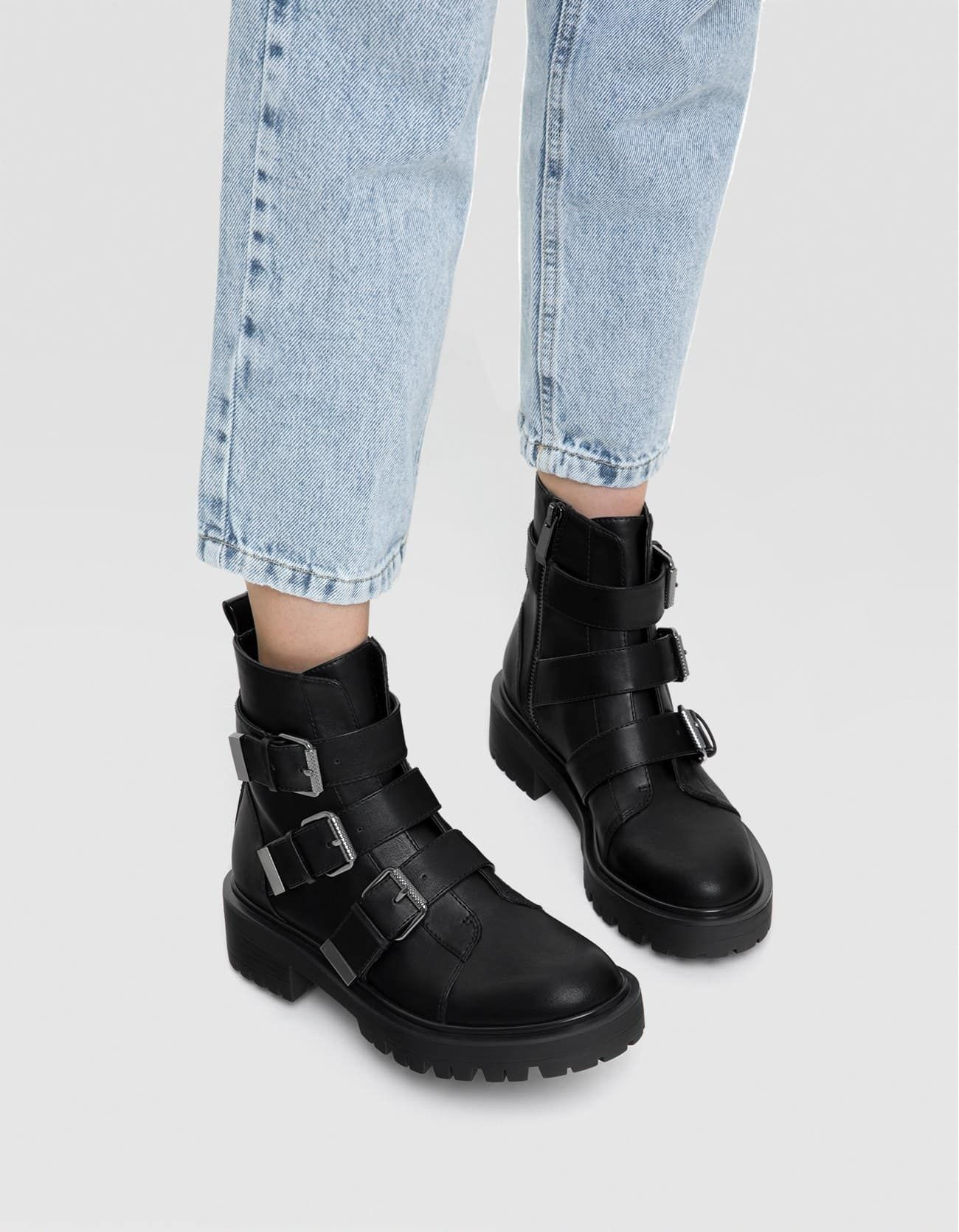 ac1a5de57f1 Flat ankle boots with buckles - All | Stradivarius Romania | Shoes ...