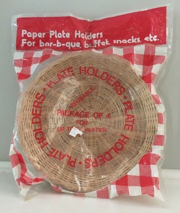 New Lot 4 Vintage Wicker Rattan Bamboo Paper Plate Holders Barbeque Cookout | Plate holder & New Lot 4 Vintage Wicker Rattan Bamboo Paper Plate Holders Barbeque ...
