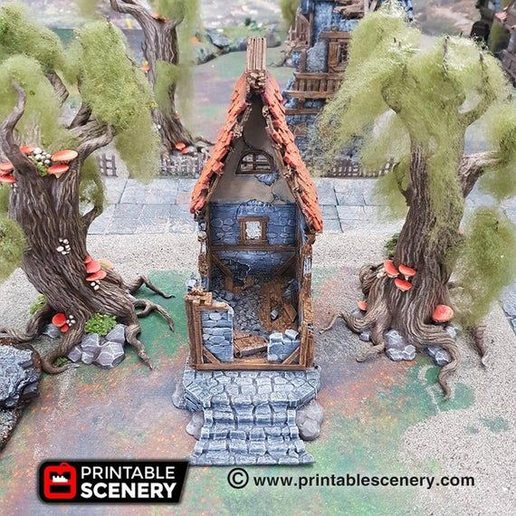 The Lost Islands - Ruined Small Cottage 28mm 32mm Wargaming Terrain D&D, DnD, Pathfinder, SW Legion, #wargamingterrain