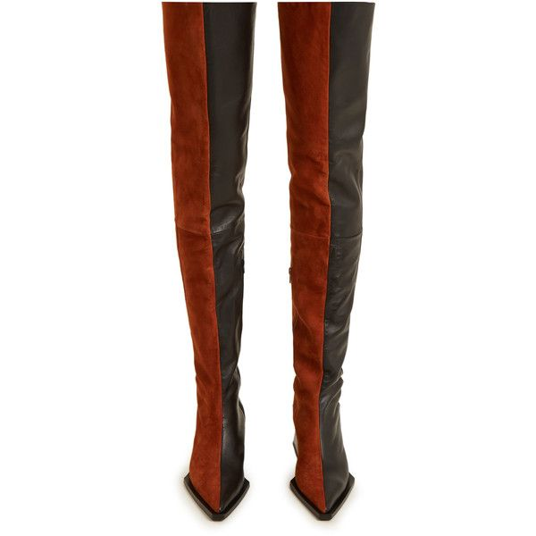 Cheap Sale Many Kinds Of Sale Finishline MARQUES'ALMEIDA Thigh suede and leather two-tone boots Discount Cheap Online Authentic For Sale Sale Big Discount Vtqkr