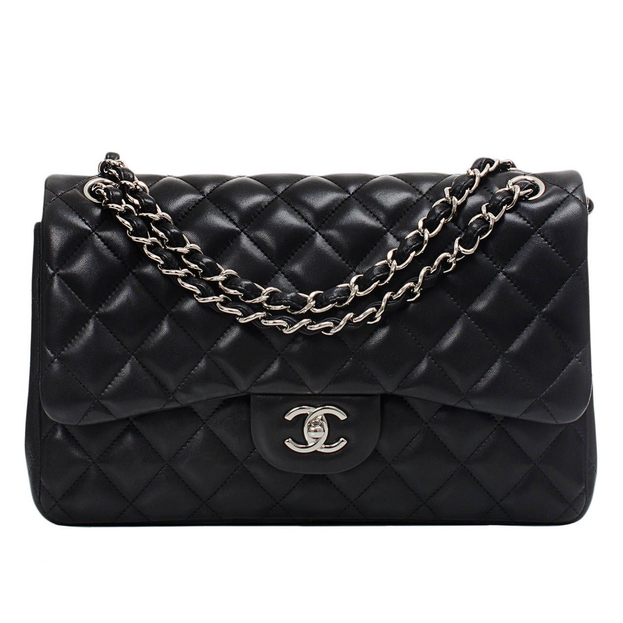 153136f5dd84 Chanel Black Quilted Lambskin Jumbo Classic Double Flap Bag