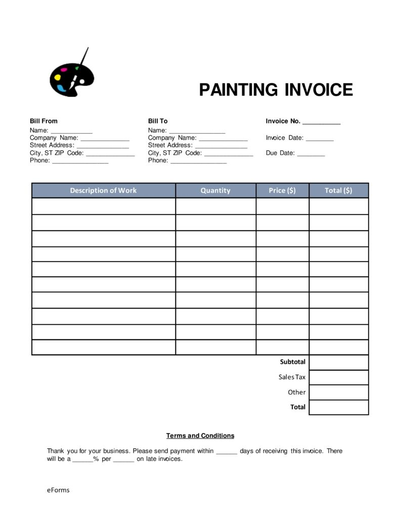 Free Online Invoice >> Free Painting Invoice Template Word Pdf Eforms Free