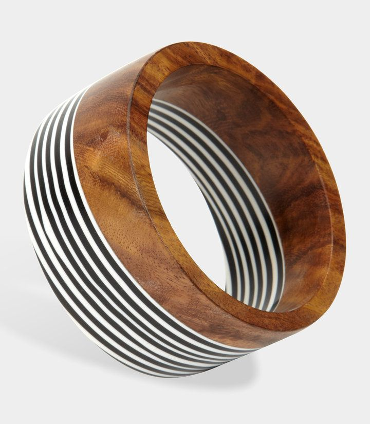 Wood And Striped Resin Bangle   Resin jewelry, Jewelry ...