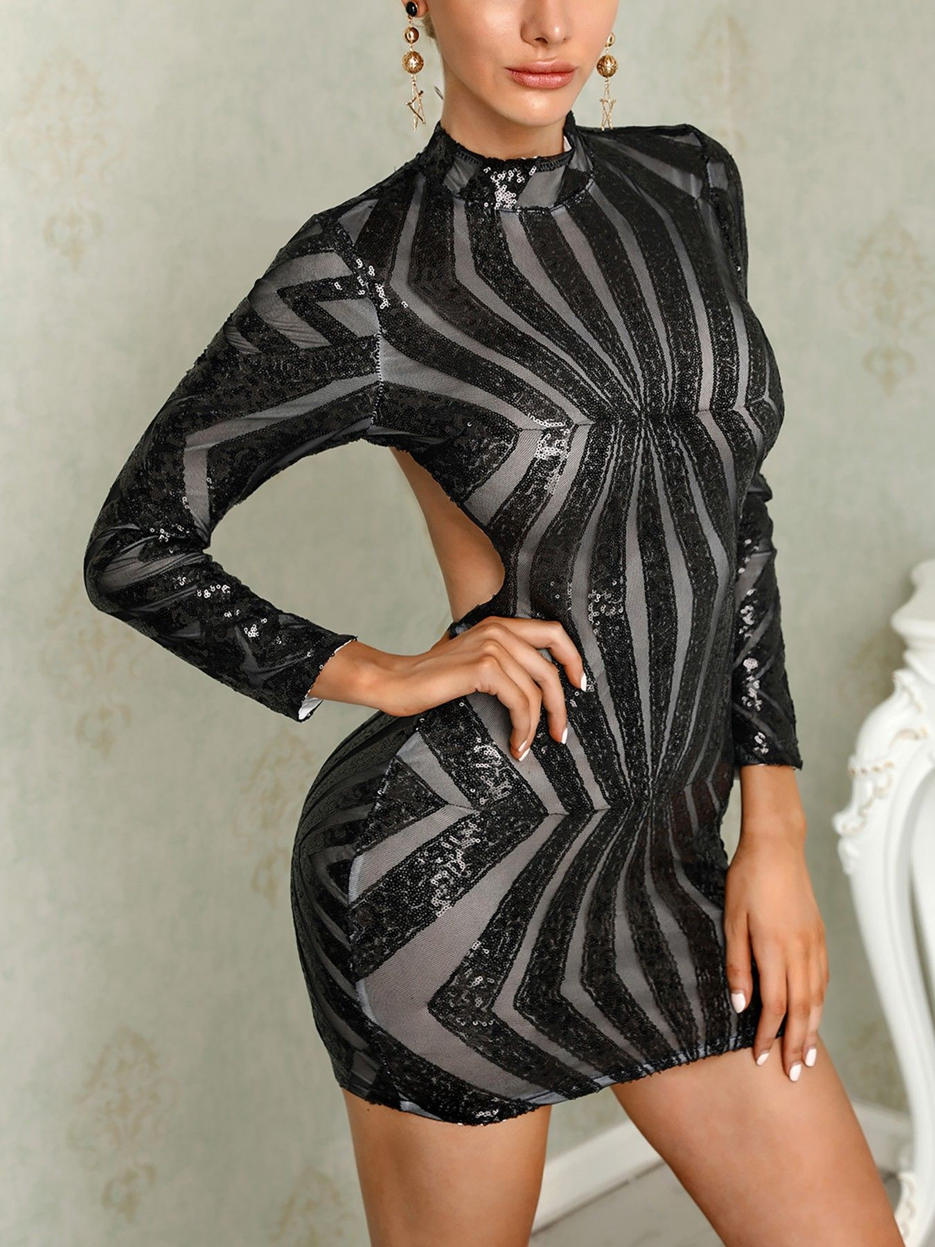 e33ae8ad8598 boutiquefeel / Shinny Open Back Long Sleeve Bodycon Mini Dress ...