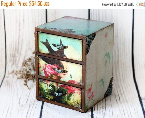 SPRING SALE Spring Roses Swallows Mini wooden chest drawers apothecary cabinet  turquoise Hippie Boho Home Office Desktop Organizer Trinket