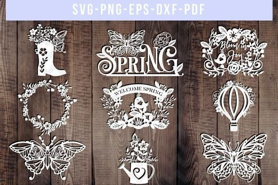 bundle of 9 spring papercut templates, floral wreath cut files, hello spring, scrapbook flowers svg, butterfly silhouette, cricut, dxf, pdf