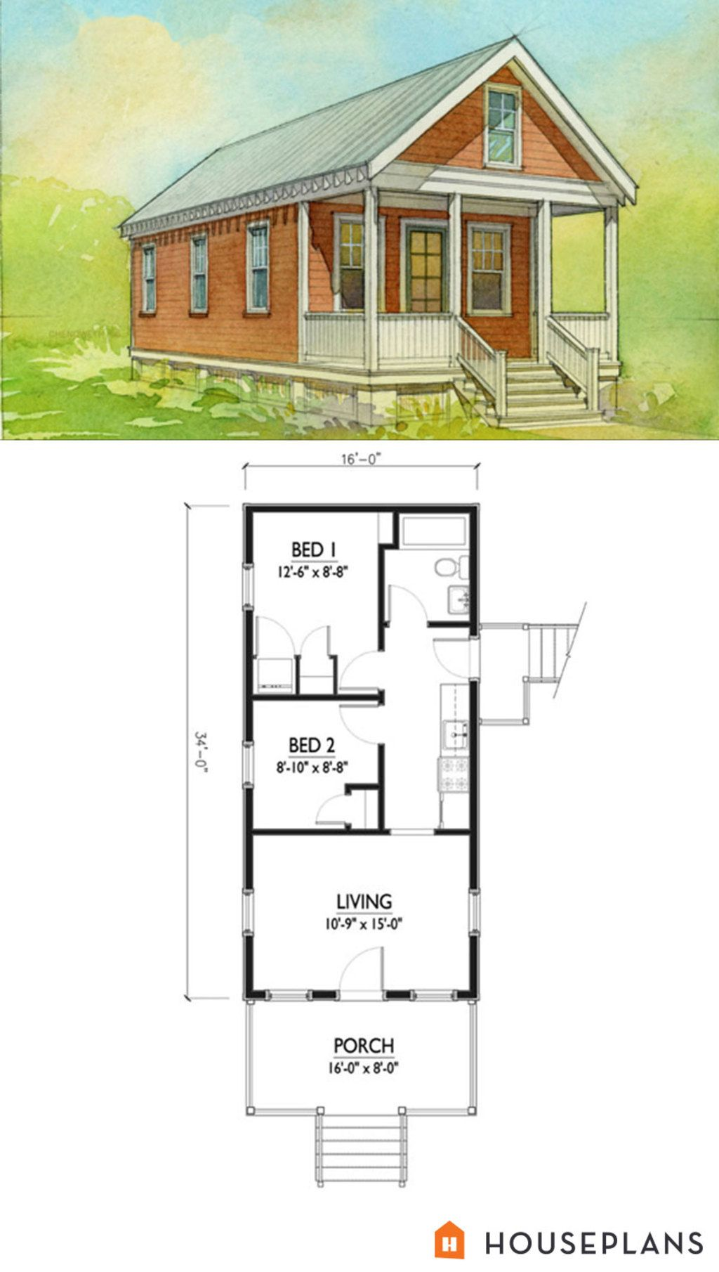 small katrina cottage floor plan and elevation 2 br houseplan number 514 5 - Katrina Cottage Plans