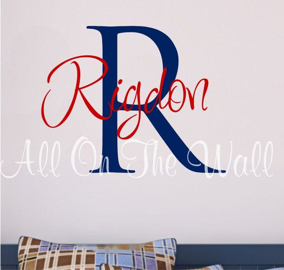 Wall Decal Boy Name Boys Monogram Vinyl Wall Decal Boy Room Decals - Monogram vinyl wall decals for boys