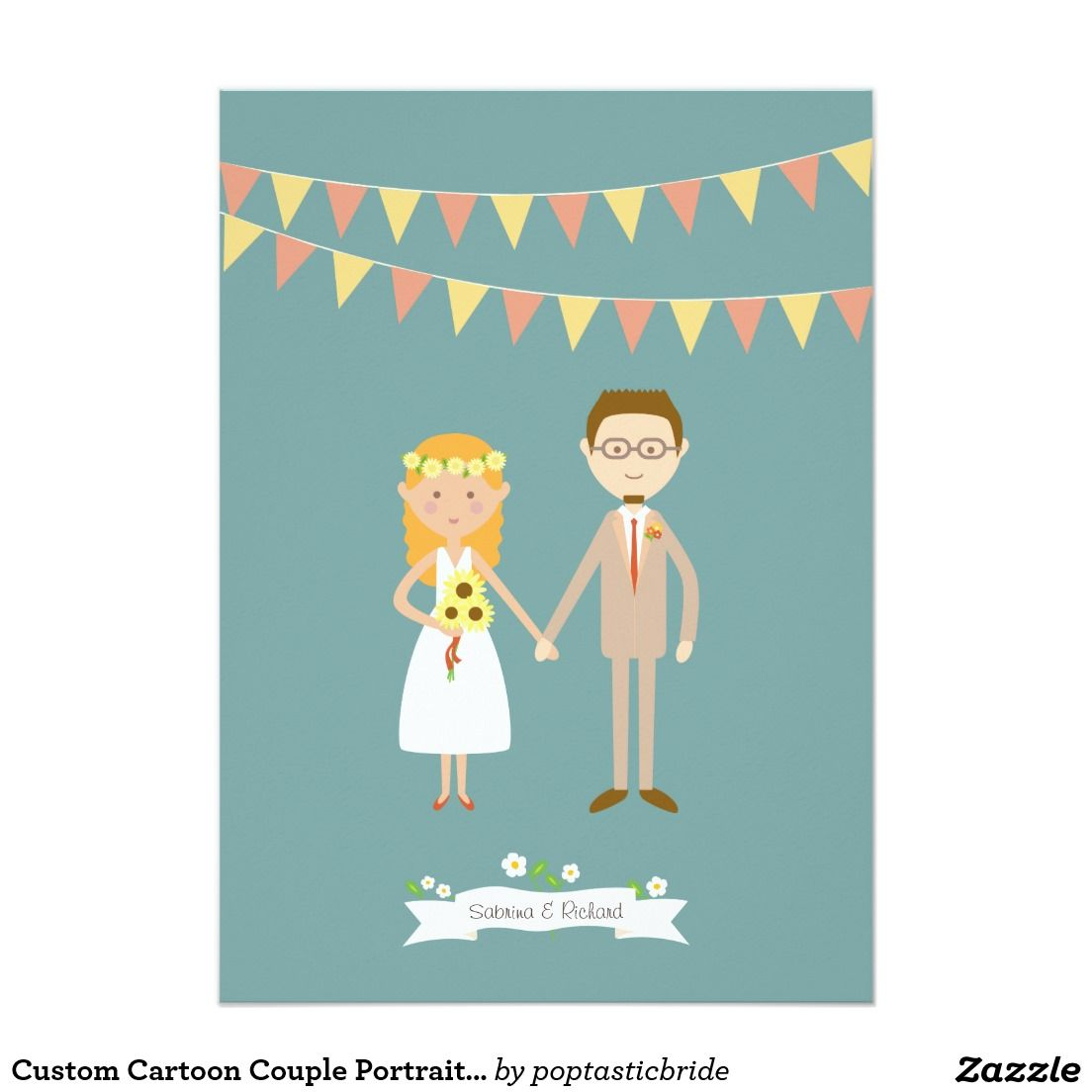 Custom Cartoon Couple Portrait Wedding Card | wedding inspiration ...