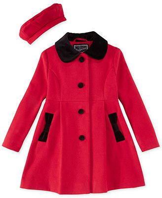 912e50d3a S. Rothschild Little Girls  or Toddler Girls  Beret   Bow Coat ...