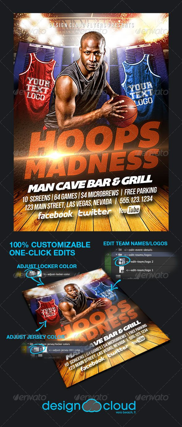 Hoops Madness College Basketball Flyer Template  College