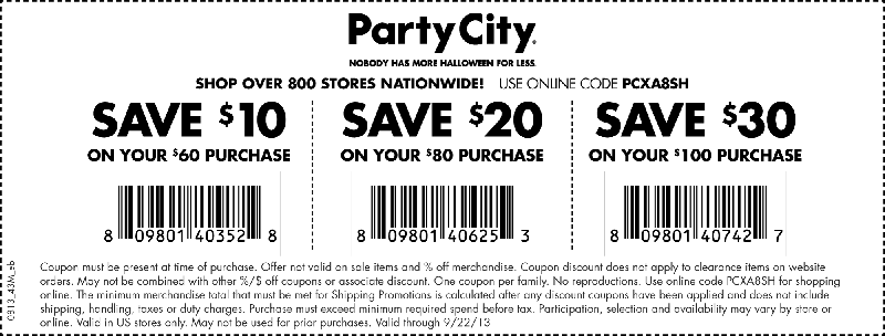 photo regarding Party City Coupons Printable called Get together Town: $10-$30 Printable Coupon Discount codes Celebration